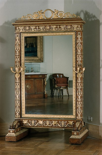 Cheval glass (psyché), Attributed to François-Honoré-Georges Jacob-Desmalter (French, 1770–1841), Amboyna veneered on oak; gilt-bronze mounts; glass, French, Paris