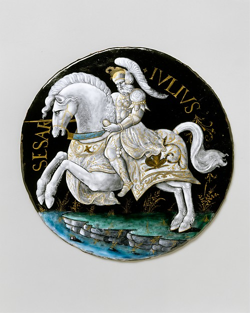 Julius Caesar, Workshop of Colin Nouailher (French, active 1539, d. after 1571), Painted enamel on copper, partly gilt, French, Limoges