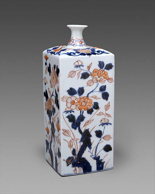 Bottle with flowers of the four seasons, Hard-paste porcelain painted with colored enamels over transparent glaze (Hizen ware; Imari type), Japanese, for European (probably Dutch) market