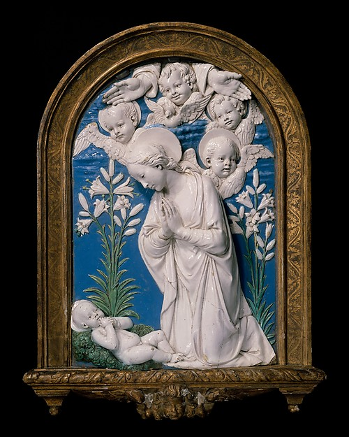 Virgin Adoring the Christ Child, Workshop of Andrea della Robbia (Italian, 1435–1525), Glazed terracotta, Italian, Florence