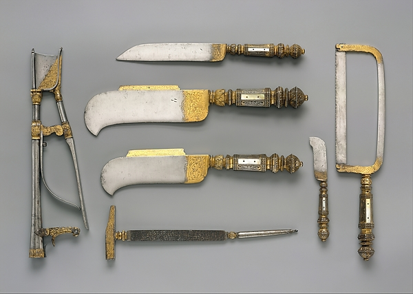 Set of seven pruning tools, Steel, partly gilded; mother-of-pearl, French, Moulins