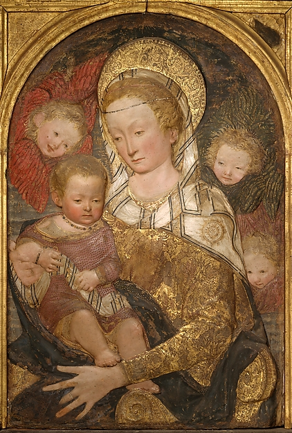 Madonna and Child with Angels, After a model by Antonio Rossellino (Italian, Settignano 1427–ca. 1479 Florence), Painted and gilt stucco; wood frame (not original to relief), Italian, Florence