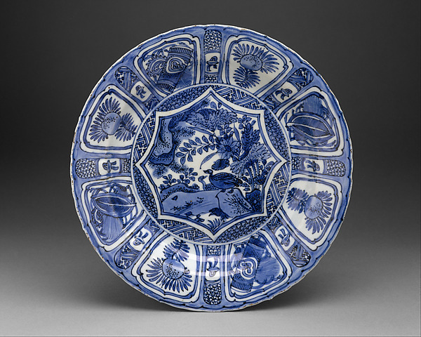 Dish, Hard-paste porcelain with cobalt blue under transparent glaze, Chinese, for European market