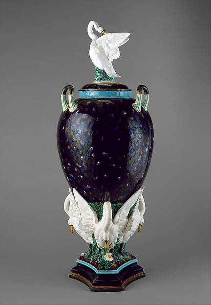 Vase (one of a pair), Possibly designed by Albert-Ernest Carrier-Belleuse (French, Anizy-le-Château 1824–1887 Sèvres), Lead- and tin-glazed earthenware, British, Etruria, Staffordshire