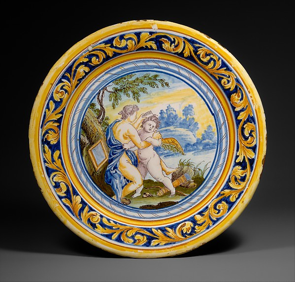 Plate with Venus combing Cupid's hair, After an engraving by Odoardo Fialetti (Italian, Bologna 1573–1637/38 Venice), Faience (tin-glazed earthenware), French, Nevers