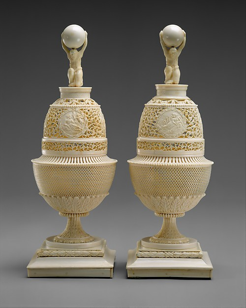 Pair of vases, Nikolai Stepanovich Vereshchagin (ca. 1795–1813), Walrus and elephant ivory, Russian, Archangelsk