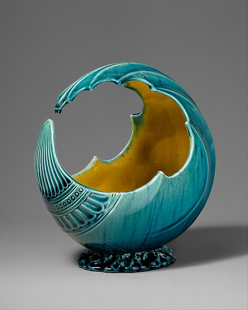 Wave bowl, Attributed to Christopher Dresser (British, Glasgow, Scotland 1834–1904 Mulhouse), Glazed earthenware, British, Linthorpe, Yorkshire