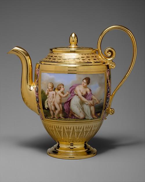 Teapot (théière Asselin), part of Breakfast Service (déjeuner), Sèvres Manufactory (French, 1740–present), Hard-paste porcelain, French, Sèvres