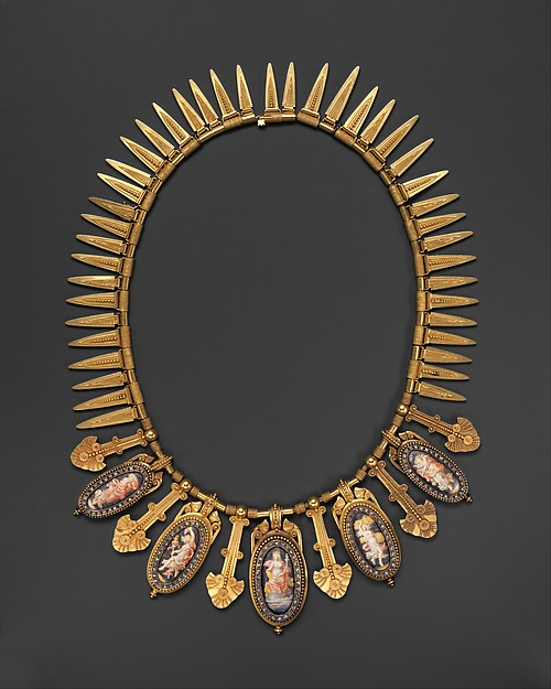 Necklace, Eugêne Fontenay (French, 1823–1887), Gold, enamel and diamonds, French, Paris