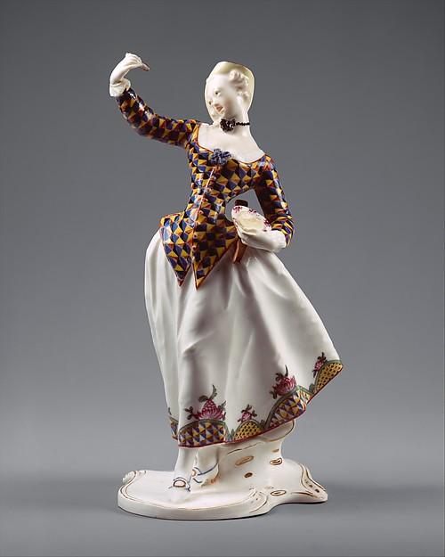 Harlequina, Franz Anton Bustelli (Swiss, Locarno ca. 1720–1763 Munich), Hard-paste porcelain, German, Nymphenburg