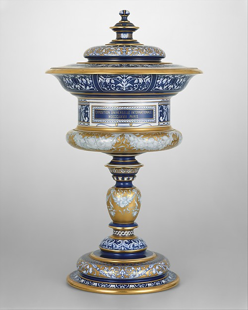 Standing cup with cover (vase couty or coupe couty), Sèvres Manufactory (French, 1740–present), Hard-paste porcelain, French, Sèvres