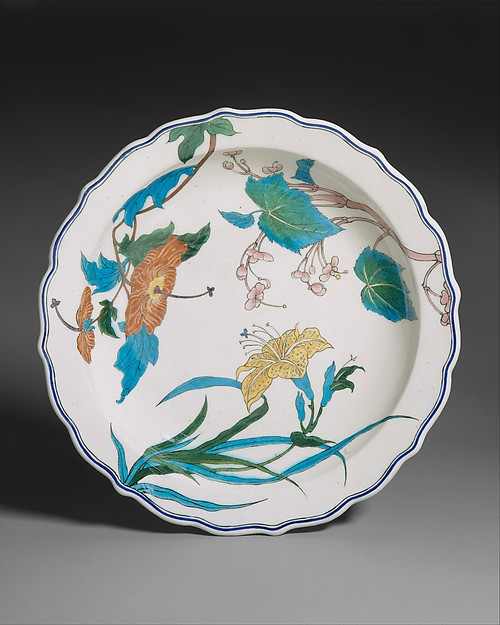 Dish, Joseph-Théodore Deck (French, Guebwiller, Alsace 1823–1891 Paris), Earthenware, French, Paris
