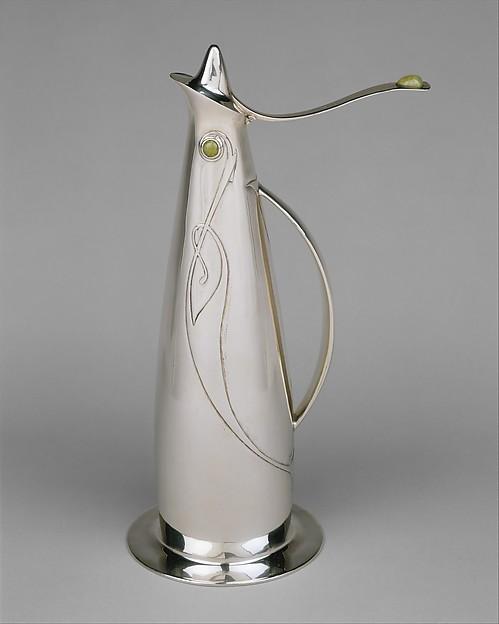Claret jug, Designed by Archibald Knox (British, 1864–1933), Silver, chrysoprase, British, Birmingham