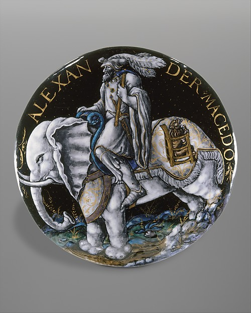 Alexander the Great, Colin Nouailher (French, active 1539, d. after 1571), Painted and partly gilded enamel on copper, French, Limoges