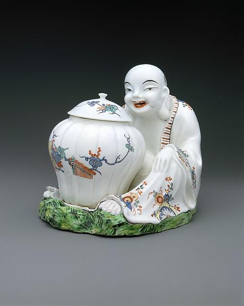 Oriental with Jar, Tin-glazed soft-paste porcelain, French, Chantilly
