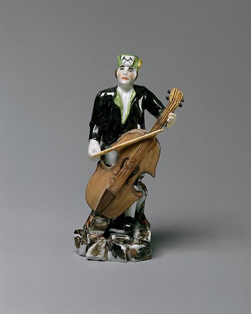 Miner Playing the Cello, Meissen Manufactory (German, 1710–present), Hard-paste porcelain, German, Meissen