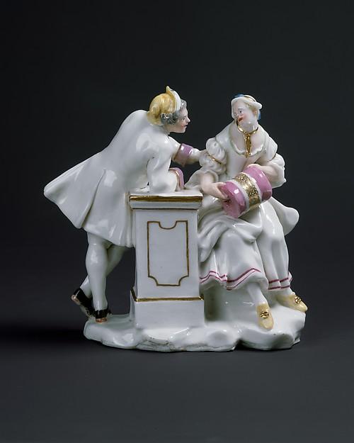 Young couple, Capodimonte Porcelain Factory (Italian, 1740/43–1759), Soft-paste porcelain, Italian, Naples