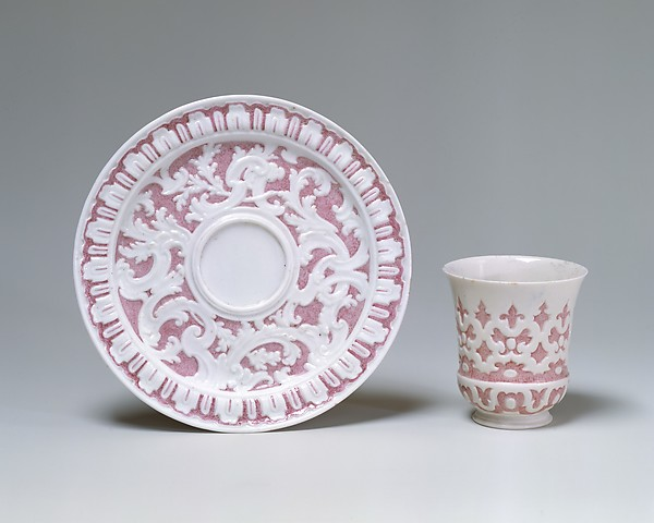 Beaker and saucer, Capodimonte Porcelain Factory (Italian, 1740/43–1759), Soft-paste porcelain, Italian, Naples