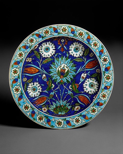 """Dish, Joseph-Théodore Deck (French, Guebwiller, Alsace 1823–1891 Paris), Earthenware with underglaze and enamel polychrome decoration (""""Persian"""" faience), French, Paris"""