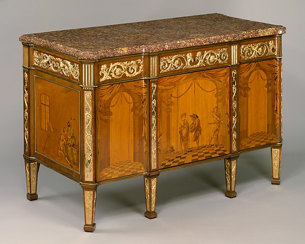 Commode à vantaux, David Roentgen (German, Herrnhaag 1743–1807 Wiesbaden, master 1780), Oak, pine, walnut, mahogany, and cherry veneered with hornbeam (partially stained), tulipwood, walnut, holly and maple (both partially stained), boxwood, mahogany, and other woods; red brocatelle marble; gilt bronze; iron, steel, and brass, German, Neuwied am Rhein