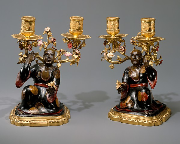 Pair of candelabra, Porcelain flowers by Meissen Manufactory (German, 1710–present), Lacquered wood; hard-paste porcelain, gilt-bronze, French