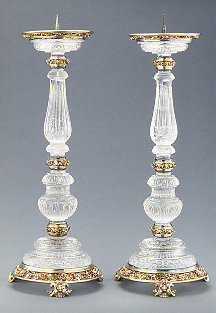 Pair of pricket candlesticks, Mounted after a design by Reinhold Vasters (German, Erkelenz 1827–1909 Aachen), Crystal, silver-gilt, enamel, Italian, probably Milan