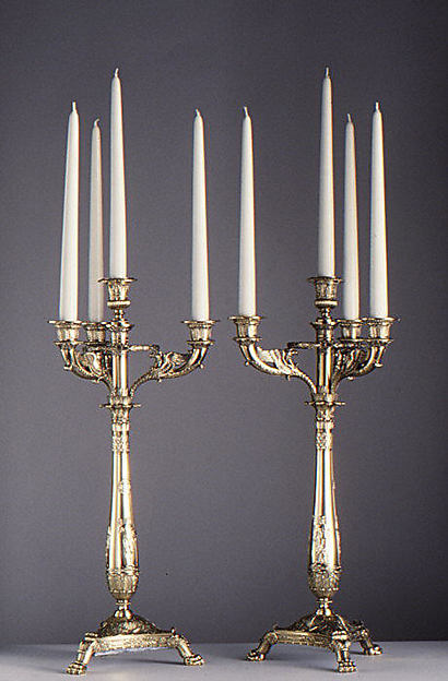 Candelabrum (one of a pair), Martin-Guillaume Biennais (French, 1764–1843, active ca. 1796–1819), Silver gilt, French, Paris