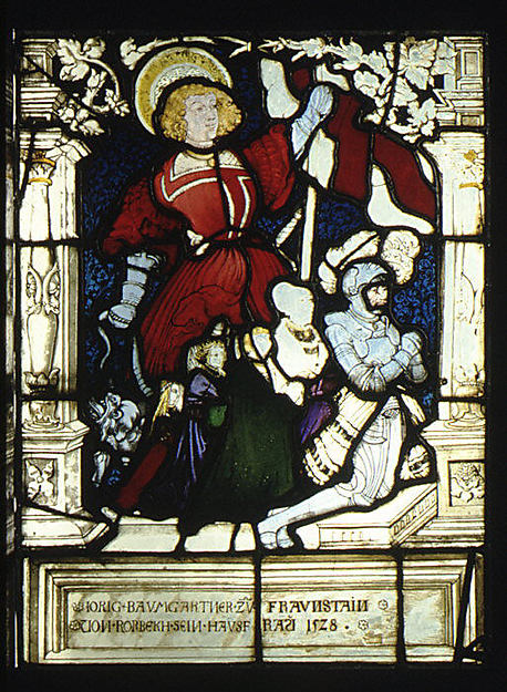 St. George standing behind kneeling donor, Jorig Baumgartner, and his family (one of a pair), Painted by Hans Wertinger (German, Landschut ca. 1465–1533 Landshut), Stained glass, German