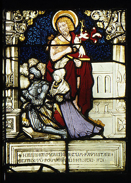 St. John the Baptist standing behind donor, Hanns Baumgartner, and his family (one of a pair), Painted by Hans Wertinger (German, Landschut ca. 1465–1533 Landshut), Stained glass, German