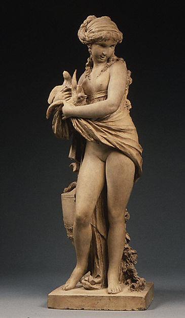 Girl with Doves, Clodion (Claude Michel) (French, Nancy 1738–1814 Paris), Cast terracotta, French, Paris