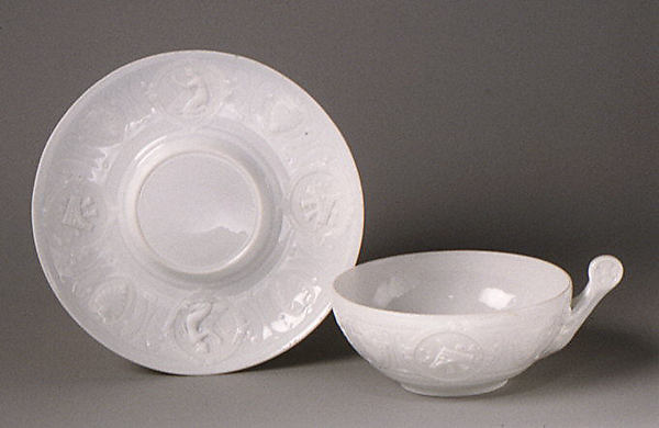 Cup and saucer, Pouyat (ca. 1840–1912), Hard-paste porcelain, French, Limoges