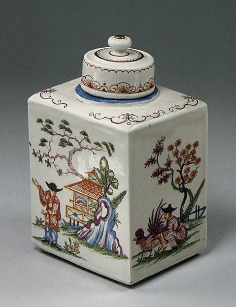 Tea caddy with cover, Vienna, Hard-paste porcelain, Austrian, Vienna