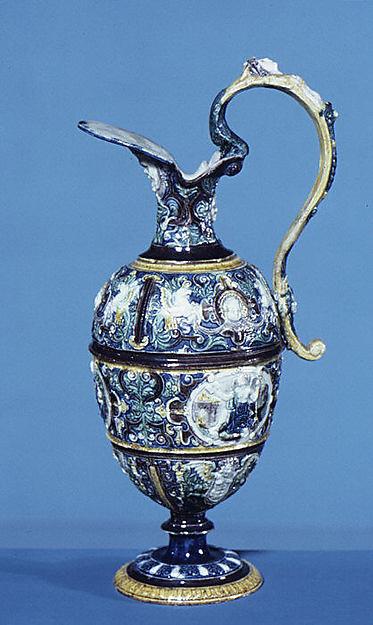 Ewer, Follower of Bernard Palissy (French, Agen, Lot-et-Garonne 1510–1590 Paris), Lead-glazed earthenware, French