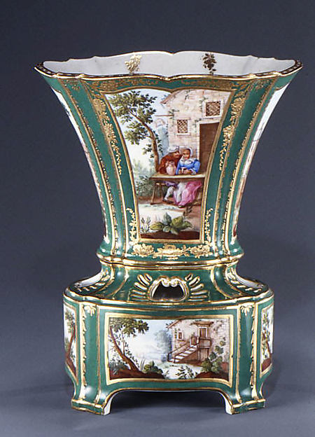 Flower vase with stand (vase hollandais nouveau) (one of a pair), Sèvres Manufactory (French, 1740–present), Soft-paste porcelain, French, Sèvres