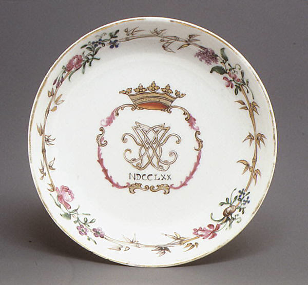 Saucer, Hard-paste porcelain, Chinese, for Continental market