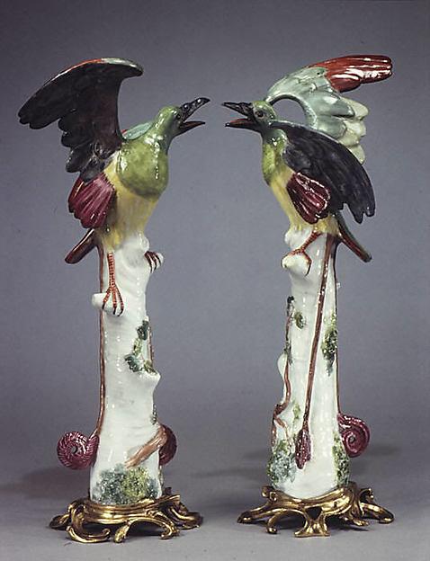 Quetzal (one of a pair), Meissen Manufactory (German, 1710–present), Hard-paste porcelain, gilt bronze, German, Meissen