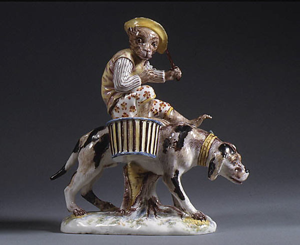 Monkey riding a dog, Mennecy, Soft-paste porcelain, French, Mennecy