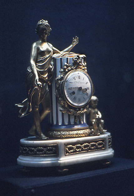 Clock, Clockmaker: Charles Dutertre (master clockmaker from 1758(?)), Porcelain, enamel, gilt bronze, marble, French, Paris