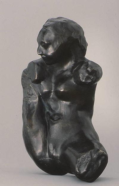 Small Torso of Iris, Auguste Rodin (French, Paris 1840–1917 Meudon), Bronze, black marble base, French