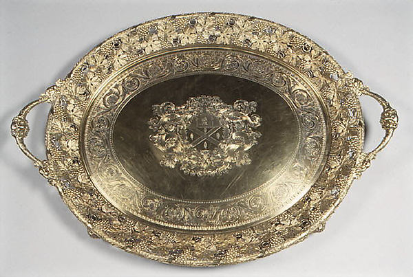 Tray with arms of William Burrell (1791–1847), Digby Scott (active 1802– after 1811), Silver gilt, British, London
