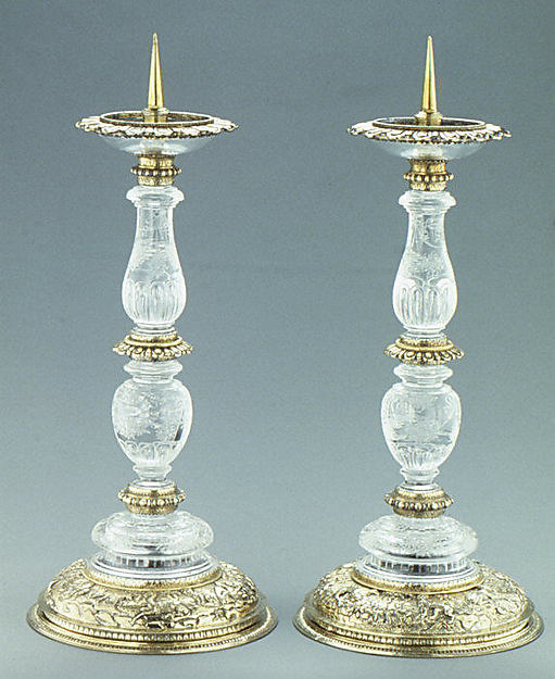 Pair of candlesticks, Rock crystal and silver gilt, Southern German