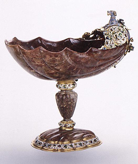Cup, Mounts after a design by Reinhold Vasters (German, Erkelenz 1827–1909 Aachen), Red jasper, enameled gold, rubies, German, Augsburg