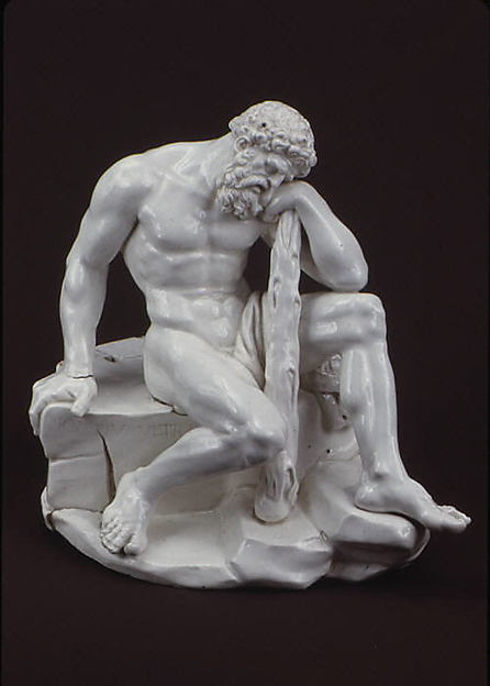 Hercules Resting from His Labors, Attributed to Royal Porcelain Manufactory, Naples, Hard-paste porcelain, Italian, Naples