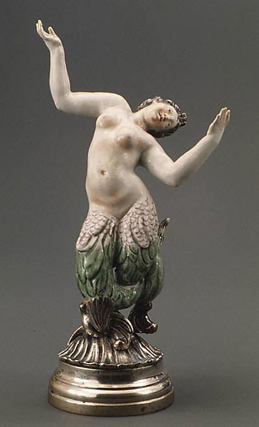 Merman (one of six), Doccia Porcelain Manufactory (Italian, 1737–1896), Hard-paste porcelain, silver, Italian, Florence