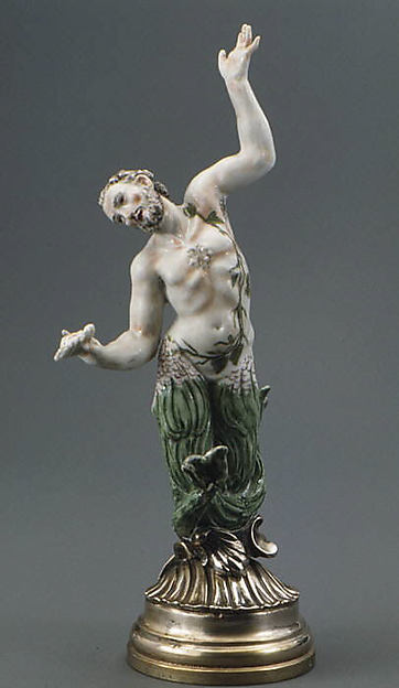 Merman (one of six), Doccia Porcelain Manufactory (Italian, 1737–1896), Hard-paste porcelain, silver, Italian, Florence