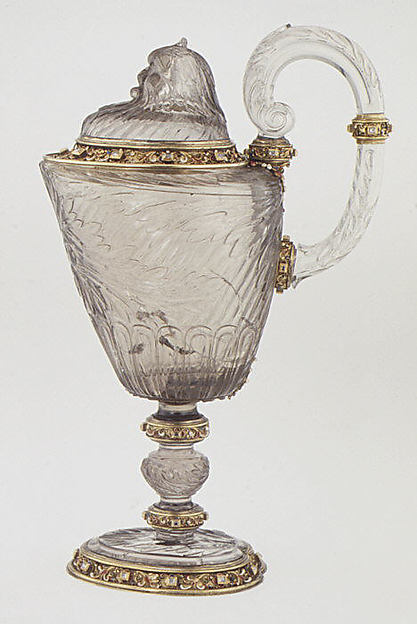 Ewer with cover, After a design by Reinhold Vasters (German, Erkelenz 1827–1909 Aachen), Rock crystal, silver gilt, enamel, diamonds, probably French