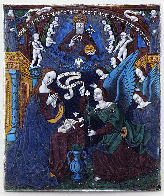 The Annunciation, Workshop of Master of the Triptych of Louis XII (ca. 1490–ca. 1515), Painted enamel on copper, partly gilt, French, Limoges