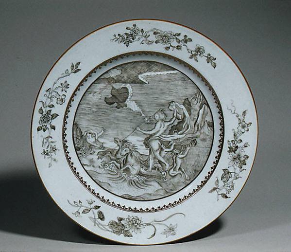 Plate, Hard-paste porcelain, Chinese, for European market