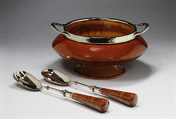 Salad bowl, Christopher Dresser (British, Glasgow, Scotland 1834–1904 Mulhouse), Glazed brown earthenware, silver, British, Linthorpe, Yorkshire