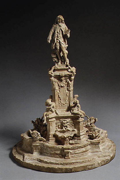 Model for the Watteau Fountain, Jean-Baptiste Carpeaux (French, Valenciennes 1827–1875 Courbevoie), Patinated plaster, French